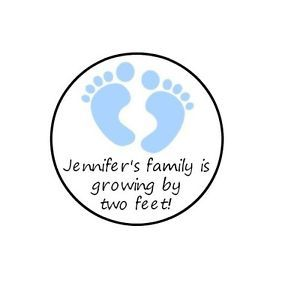 Personalized Footprint Baby Shower Kiss Stickers Labels Boy Girl Neutral Twins