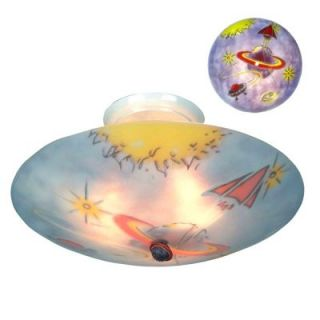 Landmark Children's Glow in The Dark 3 Light Semi Flush Ceiling Fixture Stars