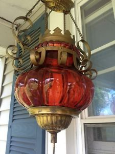 Vintage Retro Mid Century Red Glass Swag Lamp Hanging Ceiling Light Fixture Lamp