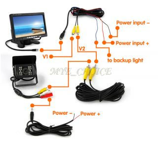 "7"" LCD Monitor Lorry Bus Car Rearview Waterproof Reversing Camera Video Cable"
