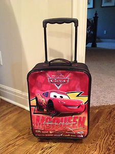 "Disney Pixar Cars Lightning McQueen Kids Rolling Luggage Suitcase 17"" x 12"""