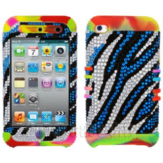 Apple iPod Touch 4 4th Gen Impact Cover Case Blue Zebra Print Diamond Rainbow