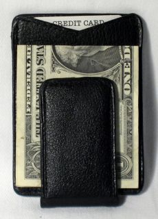 Mens Deluxe Black Leather Magnetic Money Clip Wallet Credit Card ID Holder Slim