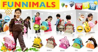 Cute Cartoon Kids Boy Girl's Backpack Zoo Animal Shoulder Bag Book School Bags