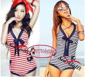 Nautical Marine Stripes One Piece Deep V Bow Knot Bathing Suit Swimsuit SW131