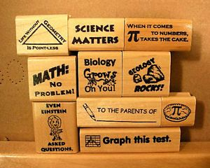 Math Science Teacher Phrase Rubber Stamps Wood Mounted