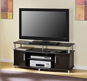 TV Stand Entertainment Center Media Console Storage Flat 50 Black Wood Furniture