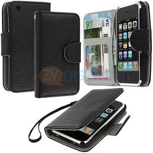 Black Wallet Pouch Leather Case Cover Holder Card Slots for iPhone 3G s 3GS