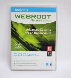 Webroot Secureanywhere Antivirus 2014 3 Devices Brand New Factory SEALED
