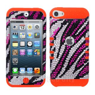 Pink Zebra Diamond Orange Impact Hard Cover Case for Apple iPod Touch 5 5th Gen
