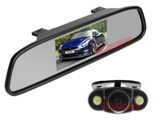 "Car Rear View Kit 5"" Mirror LCD Monitor Reversing Camera Backup System"