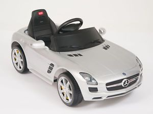 Mercedes Benz SLS AMG Ride on Kids Battery Powered Wheels Car RC Remote Silver