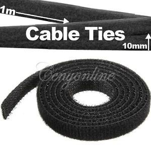 1M Strap It Wire Computer Cable Cord Ties Organizer Management Tie Downs Black