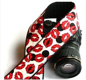 Lips Camera Strap DSLR Canon Nikon Black Red White Photo Equipment Accessories