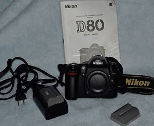 Nikon D80 DSLR Camera Body Bundled w 2 Batteries Strap Charger Manual