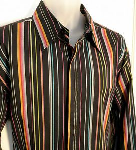 7 Diamonds Mens Long Sleeve Cotton Shirt Multicolored Stripe Size XXXL