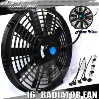 "16"" Pull Push Slim 12 Volt Electric Radiator Black Fan Cooling Mounting Kit Fans"