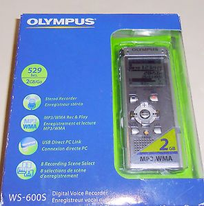 New Olympus WS 600S 142610 2GB Digital Voice Recorder USB Direct PC Link Stereo