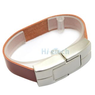 32GB 32G Brown Bracelet Leather Metal Case USB 2 0 Flash Drive Memory Storage HK