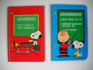 New Vntg Lt of 2 Peanuts Snoopy Woodstock Charlie Brown Schulz School Notebooks