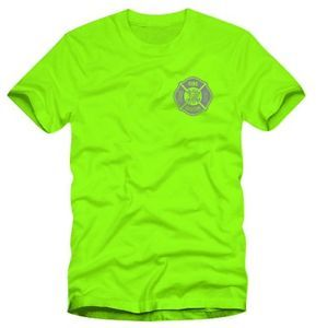Reflective Fire Rescue Safety Green Moisture Wicking Duty T Shirt 2XLarge