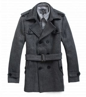 Zara Mens Casual Double Breasted Belted Trench Coat