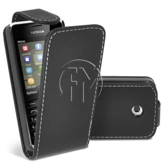 Black Flip Case Leather Case Cover Pouch for Nokia 301