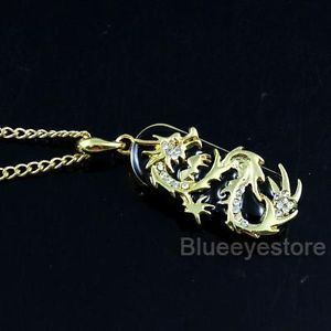 8GB Gold Crystals Dragon Necklace Jewelry USB 2 0 Flash Memory Pen Drive Stick