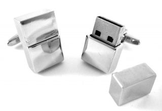 Functional Polished Silver Men's 4GB USB Flash Drive Memory Stick Cufflinks