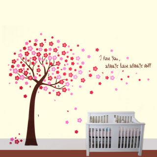 Home Bedroom Pink Cherry Blossom Flowers Tree Wall Sticker Art Decal