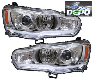 08 13 Mitsubishi Lancer Chrome Projector Head Light Evolution EVO x Halogen Depo
