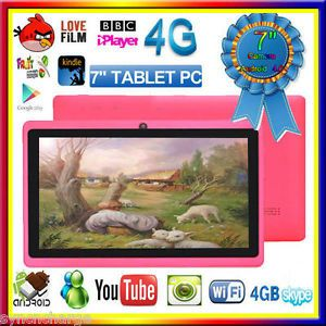 Pink 7 inch Tablet Android A13 Multi Touch Panel WiFi Camera PC Netbook iPad Q88