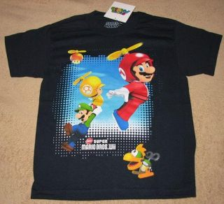 Nintendo Super Mario Bros Wii Game Navy T Shirt Sz 12 14