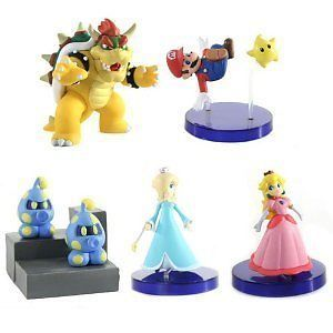 Nintendo Wii Super Mario Bros Bowser Rosalina Peach Galaxy Figure Set of 5pcs