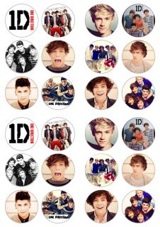 One Direction Boyband Music 24x Edible Cup Cake Topper UK Seller