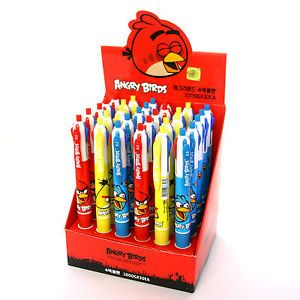 Wholesale Lot 30 Angry Birds Office School Supplies Multi Color Ink Pens