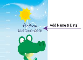 Personalised Crocodile Height Growth Chart Wall Stickers Totally Movable
