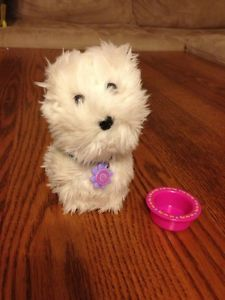 American Girl Doll Pet Dog Coconut with Food Bowl in EUC