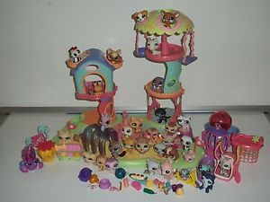 Littlest Pet Shop Lot Play House Dogs Cats Birds Food More