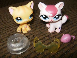 Littlest Pet Shop Lot 2 Cats Kittens Tabby Food Bowl Mouse Sunglasses