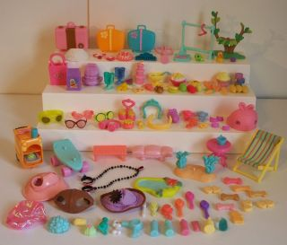Littlest Pet Shop LPS Huge Lot 100 PC Piece Hats Food Accessory Stands Treats