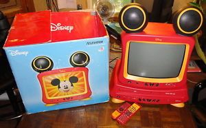 "Mickey Mouse 13"" Disney TV Television DVD VHS Player Combo Works w Box Remotes"