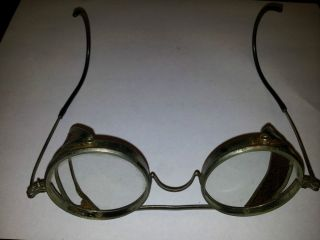 Antique Metal Safety Motorcycle Pilot Glasses Goggles