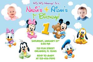 Mouse Baby First Boy Girl Birthday Party Photo Invitations   Printable