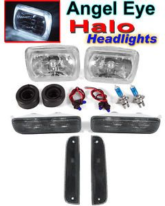 1997 98 1999 00 2001 Jeep Cherokee XJ Halo Headlights Smoke Corner Bumper Lights