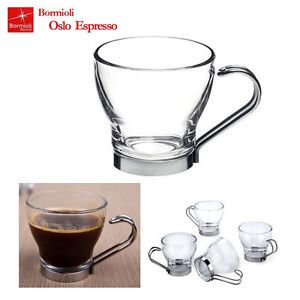 New 3P Italy Luxurious Glass Espresso Cups with Stainless Steel Handle