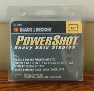"Black Decker Power Shot Heavy Duty Staples 1 2"" 97 013"