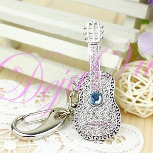 4GB Swarovski Crystal Guitar USB Flash Drive Keychain