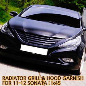 Front Radiator Grill Hood Garnish Matte Black for 11 12 Hyundai Sonata IX45