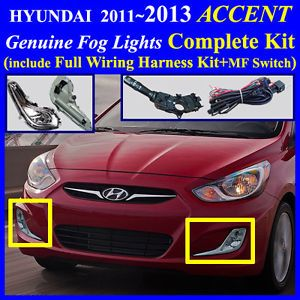 2012 2013 Hyundai Accent Fog Light Lamp Complete Kit Wiring Harness MF Switch